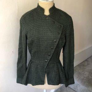 Geren Ford Military Style Tweed Peplum Jacket EUC